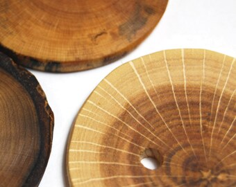 Handmade Wooden Tree Branch Buttons, Rustic Natural Wood Buttons, Large Wooden Buttons, 2 Inches and Over, Set of 3