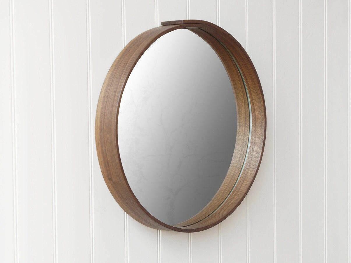 Round Mirror Wall Mirror Oak Or Walnut Wood
