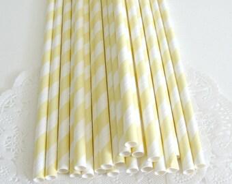 Light Yelow Stripe Paper Straws 25 Count   Yellow Paper Straws   Yellow Striped Straws   Yellow Stripe Party Straws   Pastel Yellow Straws