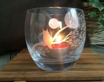 Owl candle glass, tea light holder