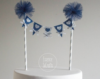 Banner Cake Topper, Birthday Party, Birthday cake banner, Smash cake decor, Birthday Cake Topper.  streaky pattern straw. blue and silver