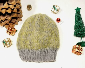 Light Green and Gray Mohair Hand-Knit Slouchy Winter Hat