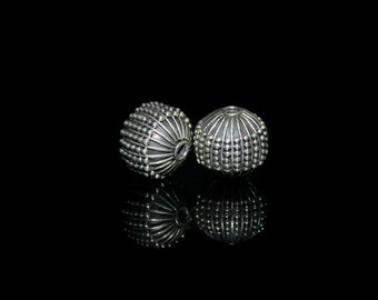 Two 14mm Oxidized Sterling Silver Fluted Beads, Sterling Silver Bali Beads, Sterling Silver Beads, Beads, Sterling Silver Beads.