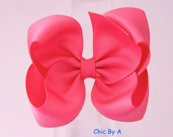 """Pink 4"""" Boutique Bow,Lovely Stacked,Baby,Girl,Ponytail Bow,Hair Clips,Elegant Hair Bow,Baby, Kids,Toddler,Grosgrain Ribbon,Hair Bow"""