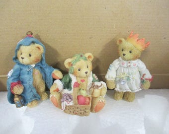 "Vintage Cherished Teddies resin 3 piece set ""Gloria, Garland, Gabriel"" Christmas Ghost Figurines 1994 Enesco 614807"