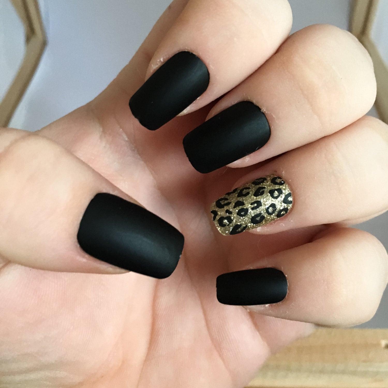 Black Fake Nail Set 1 Matte False Nails Cheetah Acrylic