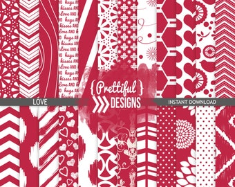 Valentine Digital Paper  - Personal and Commercial Use - Love