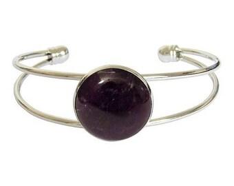 Silver plated - Amethyst cabochon bracelet