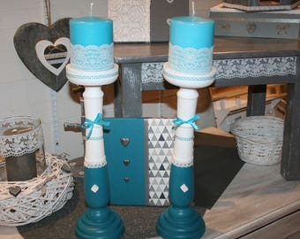 candle holder made of wood, white and turquoise, lace and heart