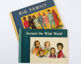 Vintage Mid Century Children's Books - Big Family and Around the Wide World