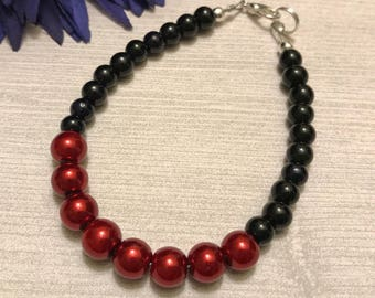 red and black glass bracelet, Czech glass, silver plated, lobster claw clasp, 7.25 inches