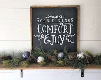 "2x2 Good Tidings of Comfort and Joy |  Wood Signs and Wall Decor | Christmas Songs Hymns Signs | 24""x 24"" Magnolia Inspired Christmas Sign"