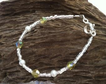 August Peridot Dainty Baby Birthstone Bracelet