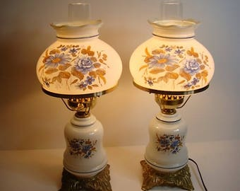 Vintage Pair Electric Hurricane Lamp Milk Glass Blue and Brown Floral Print  1970's
