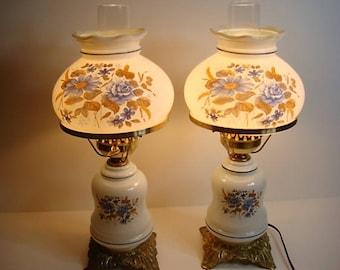 Vintage Pair Electric Hurricane Lamp Milk Glass Blue And Brown Floral Print  1970u0027s