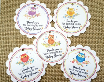 15x Owl Thank You Gift Tags, Favour Tags, Birthday Gift Tags, Baby Shower Tags, Christening Gift Tags
