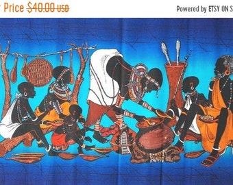 ON SALE Blue wall hanging Batik, Handmade batik, Kenya batik, Handmade wall hanging ,African wax Batik, African wall hanging, Maasai batik