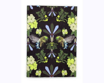 4-pack Blue-Banded Bee cards (black)