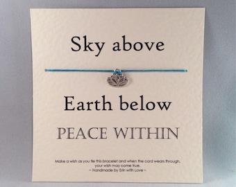 Lotus Tibetan Silver Charm Wish Bracelet & Message Card    Handmade By Erin
