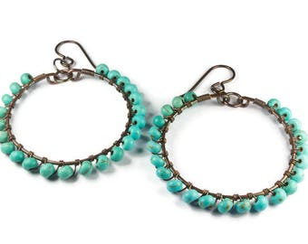 Round Turquoise Hoop Earring in Turquoise and Copper, Hoops for Sensitive Ears in Hypoallergenic Niobium
