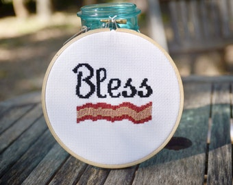 Bless Bacon Cross Stitch