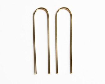 Lange Arc oorbellen (gele gouden vulling)