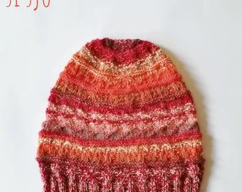 Unique Si Sjo Gansey handknitted beanie, merinosilk blend yarns.