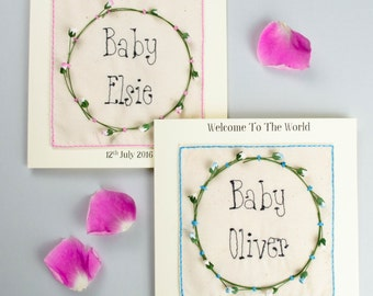 Embroidered New Baby Personalised Card