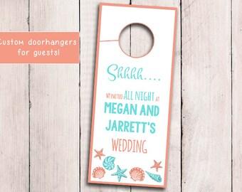 Beach Wedding Door Hanger Template - Seashell Welcome Bag Door Hanger Printable - Coral Light Turquoise Wedding - Wedding Favor Download