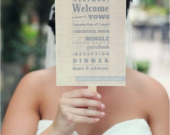 Wedding Program Fan DIY Printable File - Rustic, Yellow, Custom, Vintage, Shabby Chic wedding Typography Stacked Type