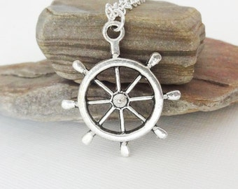 Helm Necklace, Ship Wheel Necklace, Nautical Jewelry, Navigation Necklace, Cruise Ship Jewelry, Gift For Captain, Gift For Man, Father Gift