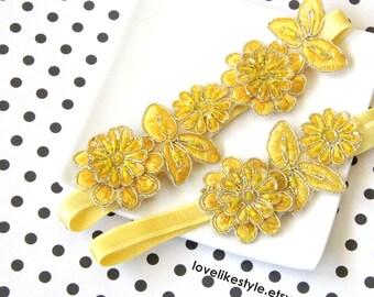 Yellow Beaded Flower Lace Wedding Garter Set, Yellow  Lace Garter Set, Toss Garter , Keepsake Garter / GT-30