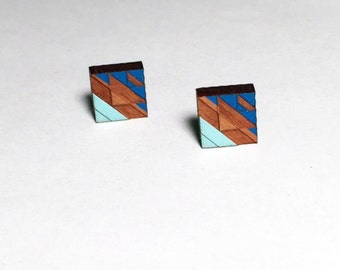 Tribal Post Earrings Blues 1 on Walnut