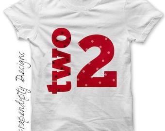 Second Birthday Iron on Shirt PDF - Girls Iron on Transfer / 2nd Birthday Shirt / Kids Girls Clothing Tops Tee / Toddler Number Tshirt IT56G