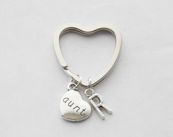 Aunt Keychain, Gift for Aunt, New Aunt Gift, Aunt Key Ring, Personalized Keychain for Aunt, Custom Keychain, Initial Keychain, Monogram gift