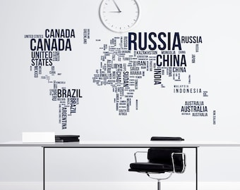 Large world map with countries wall decal sticker world map large world map wall decal letters world map with countries wall decal travel stickers living room bedroom office wall art decor c081 gumiabroncs Images