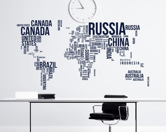 Wall decal world map letters world map wall decal large large world map wall decal letters world map with countries wall decal travel stickers living room bedroom office wall art decor c081 gumiabroncs Image collections