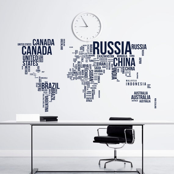 Large world map wall decal letters world map with countries gumiabroncs Choice Image
