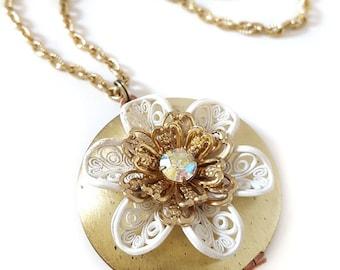 Large Flower Locket Necklace, White and Gold Flowers, Rhinestone, Vintage GLass, Vintage Brooch Necklace, Vintage Locket, Gift for Her