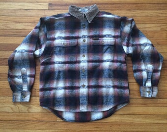 Vintage Guess Button Up Flannel Shirt with Corduroy Style Collar