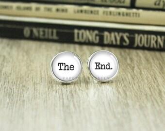 Book Lover Earrings - The End Earrings - Reader Earrings - Book Jewelry - Book Lover Earrings - Literary Jewelry -  (H7753)