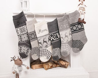 personalized christmas stockings family grey knitted scandinavian nordic stocking handmade embroidery rustic home decor nikolausstiefel - White Knit Christmas Stockings