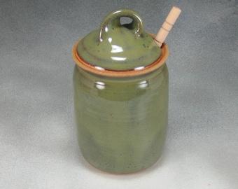 Green Ceramic Honey Pot Hand Thrown Pottery 2b