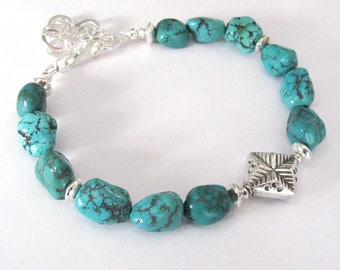 Turquoise Gemstone Bracelet, Sterling Silver Star Bead, Blue Green Turquoise Nuggets, Adjustable Bracelet
