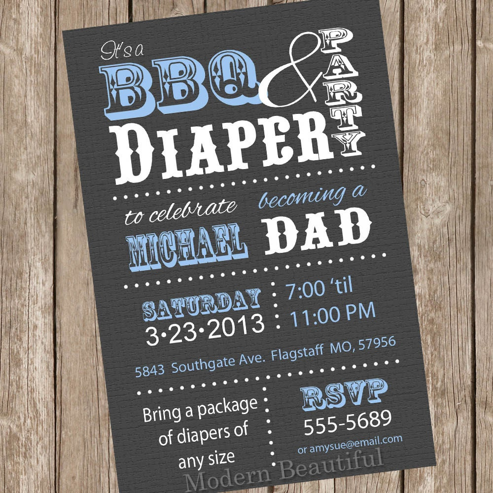 Bbq And Diaper Baby Shower Invitation Grey Blue Dad Diap On Baby Q ...