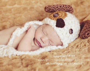 Baby Hat - Baby Puppy Hat -  Newborn Puppy Dog Hat - Spotted Puppy Cute and Soft Earflap - by JoJosBootique