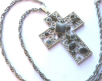 Grey TIGERS EYE Silvertone Rhinestone Cross, Filigree Grey Moonstone Cross, Faux Gemstone Silvertone Cross Pendant, Vintage Cross Necklace