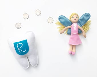 Personalized Tooth Fairy Pillow. Cyan Pocket.