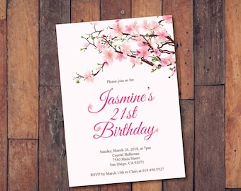 Cherry invitations etsy 21st birthday invitationprintable cherry blossoms birthday invitationecard invitationtemplatebirthday filmwisefo