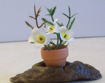 Miniature little flower pot in a tree knot great for Fairy or miniature gardens and terrariums